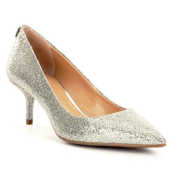 9cc42fb708ba Michael Kors Silver Glitter Flex Kitten Heels